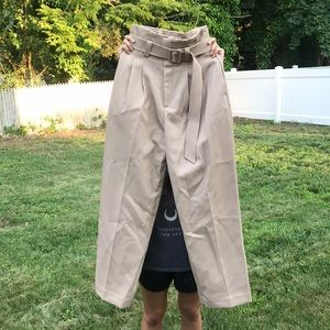 H&M beige wide leg paper bag trousers